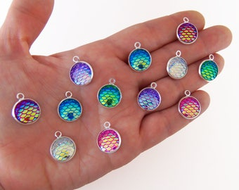 6 mermaid scale charms, mermaid scale charm, colorful mermaid scales, fish scale charms, fish scale charm, 12mm charm, dragon scale charms