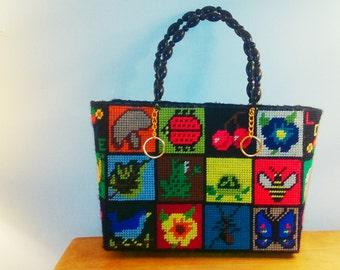 Vintage// hand made// woven// yarn// teacher// playful// fun// purse// hand bag