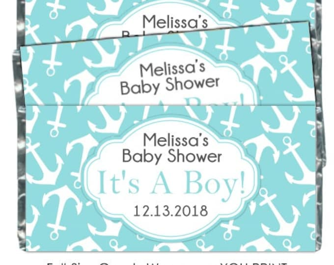 PRINTABLE Baby Shower Candy Wrappers - Teal Anchors, Nautical, Chocolate Bar Candy Wrappers -  new baby, baby shower