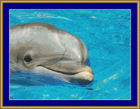 Dolphin Face Cross Stitch Pattern /Digital PDF Files /Instant downloadable
