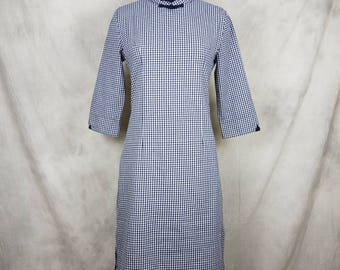 Vintage Chinese Dress Cheongsam Mandarin Collar Plaid Blue 3/4 Sleeved Frog Buttons Qipao with Side Slits