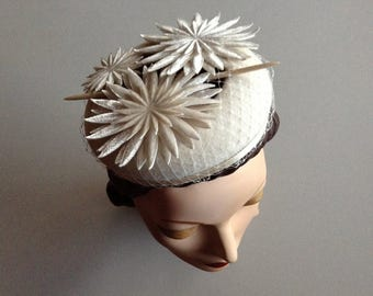ON SALE:  Ivory Cream Wedding Halo Hat with Embossed Silk Velvet Flowers