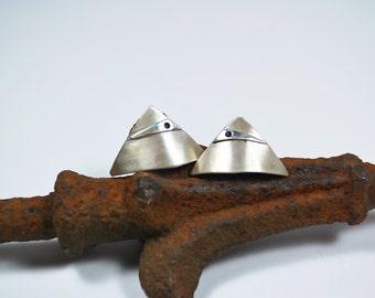 Post Earrings - Modern Sterling Silver Post Earrings - Sapphire Post Earrings