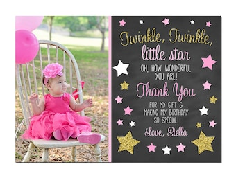 Twinkle Twinkle Little Star Chalkboard Thank you - Birthday Party Thank you Printable