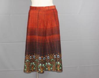 Vintage 1970's Red Flower Skirt M