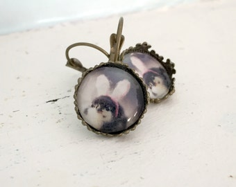 Chicken Earrings Baby Chick In Bunny Ears Leverback Baby Animals Easter Gift