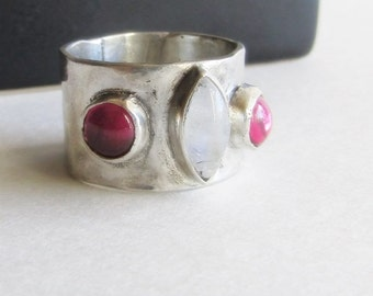 Wide Moonstone and Ruby Ring - Hammered Sterling Silver Ring - Size 7 Ring - Made to Order Ring - Custom Jewelry