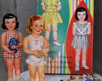 Paper Dolls Children's Toy Graphic Design Paper Ephemera Sally Susie Magic Dolls Whitman Vintage 1960s