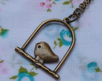 Little Bird on the Perch Pendant Necklace