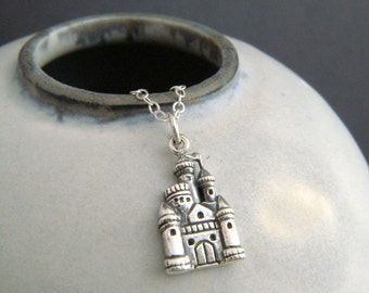 sterling silver castle necklace. whimsical pendant small girly charm princess fairytale fairy tale fun jewelry unique gift tween her 3/4""