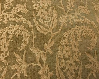 Ornate Beige Botanical On Olive-Brown Rayon and Cotton Velvet Weave Blend