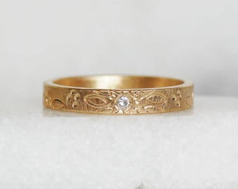 Diamond Patterned Wedding Band - 3mm 14k Gold Ring - Eco-Friendly Recycled Gold
