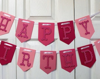 Pink Ombre Happy Birthday Banner, High Chair Banner, One Banner