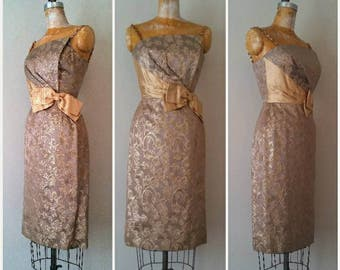 1950s Champagne and Gold Sparkle Wiggle Dress, Vintage Wedding, Gold Bow Dress,Asymetrical Bust,Dramatic Vintage 50s Pencil Dress,XXS to XS