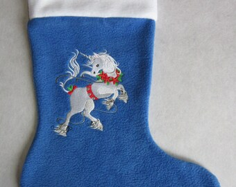 Unicorn Christmas stocking,  personalized, choose your own colors