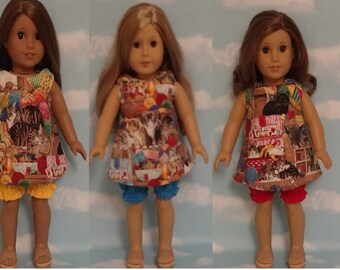 "Short Set for 18"" doll, 18 inch Girl Doll Clothing, handmade to fit American Girl Dolls, (choose an option) 975abc"