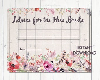 Advice for the Bride, Wedding Advice Cards, Newlywed Advice, Boho Bridal Shower, Rustic Bridal Shower, Boho Flowers, Printable No. 1028