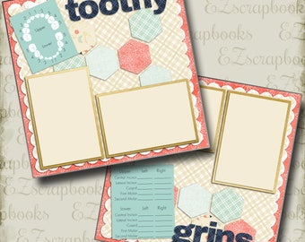 TOOTHY GRINS Girl  - 2 Premade Scrapbook Pages - EZ Layout763