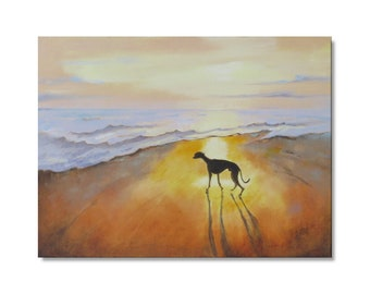 """16 x 12 Oil Painting. """"Whippet at Sunset"""" Original Wall Art. Dog at the Seaside. Beach Painting.FREE SHIPPING"""