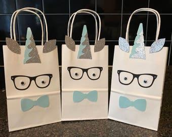 boy Unicorn party favor bag,  boy favor box, treat bag , candy bag , favor bag, boy unicorn theme party