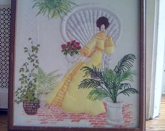 Framed Embroidered Textile of A Seated Lady