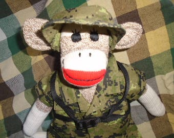 Army/Military Ranger Camoflauge Sock Monkey Doll