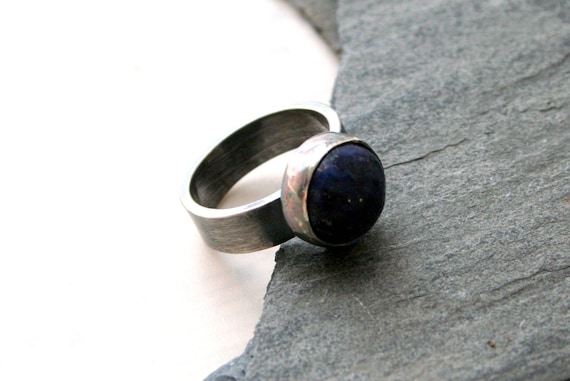 Blue Lapis Stone, Sterling Silver Chunky Ring - Size 4.5