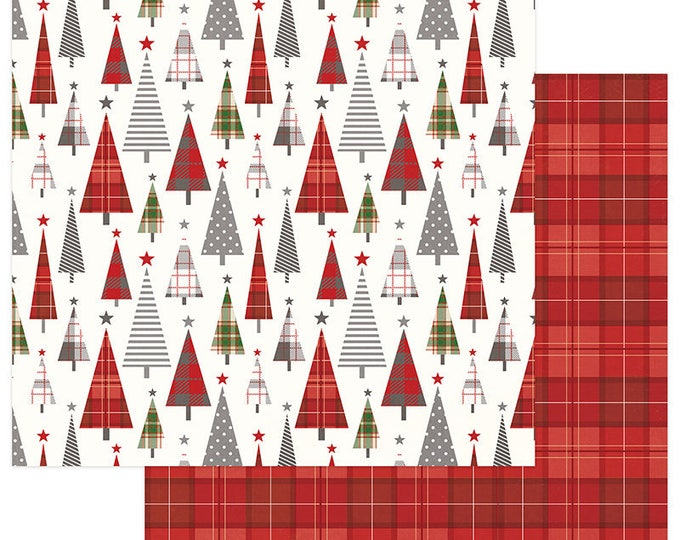 2 Sheets of Photo Play Paper MAD 4 PLAID CHRISTMAS 12x12 Scrapbook Cardstock - Tree Lot