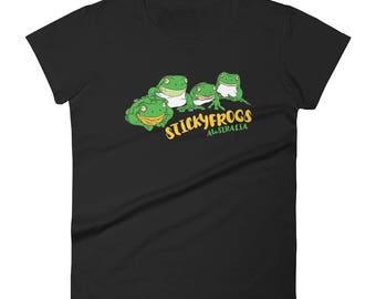 Stickyfrogs Black Frog Ladies T-shirt