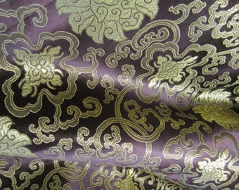 Chinese satin brocade in dark chocolate brown and gold - 1 yd. of brown and gold brocade fabric, Tibetan flower, Chinese brocade by the yard