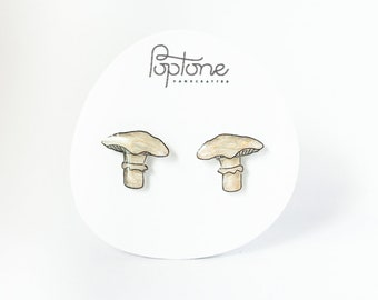 Mutsatake Mushroom Earrings, white mushrooms, woodland jewelry, botanical earrings, mushroom stud earrings