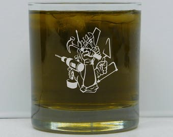 Contractors, Contractor Gift, General Contractor, Contractor On The Rocks Glass, Contractors Gifts