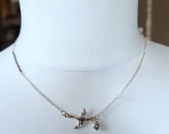 Vintage Accessorize Sterling Silver 925 Dove Bird Charm Chain Necklace