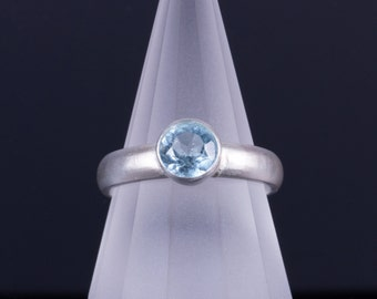 Sky Blue Topaz 6mm Round Bezel Sterling Silver Ring