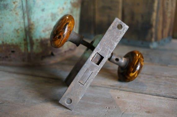 Brown Marbled Door Knobs and antique Rim Lock, Brown Swirl Porcelain ...