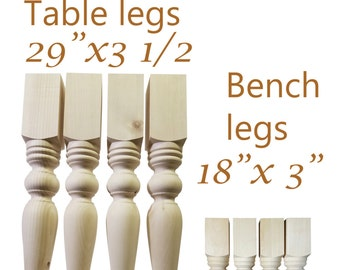 2 Sets of Hand Made table legs and Bench legs wooden pine- dining room pine table legs