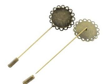 1 x medium fibula cabochon(20mm) 78x26mm BRONZE