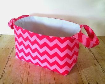Pink Tonal Diaper Caddy - Fabric Storage Basket - Toy Storage