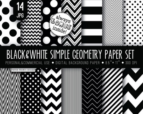 8 5 x 11 black white digital paper 8 5 x 11 print wedding paper black white paper chevron strips polka dot black and white printable from