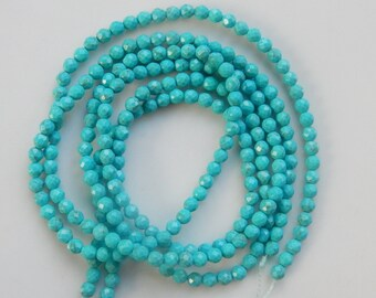 3mm blue  magnesite Turquoise faceted  round beads   FULL STRAND