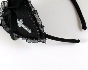 Gothic Valentine's Day Headband-Black Heart Headband-Gothic Heart Headband-Gothic Headband