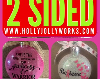 Breast cancer ornament, Breast Cancer, Cancer Awareness, Christmas ornament, ornament, personalized