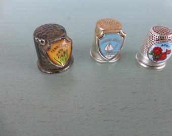 Vintage Set of 3 Thimbles - Tennessee, Virginia Beach, and April Roses