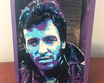 The Boss Bruce Springsteen New Jersey Illustrated Wood Shadow Box
