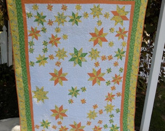 Orange and Green Star Lap Quilt, 59 by 77 inches