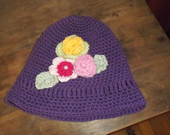 Child's cotton sun  hat with flowers