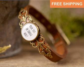 Personalized leather bracelet, brown leather bracelet, adjustable bracelet, gift for women, gift for her, custom jewelry, custom bracelet