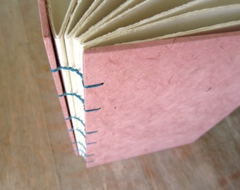 Journal Pink 8x5.5 inches, unlined hand torn pages, Ready to Ship