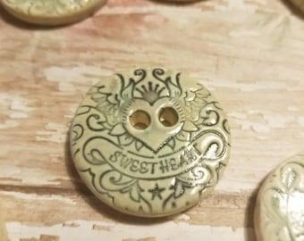 Sweetheart Button, Porcelain Button, Handmade Pottery Button