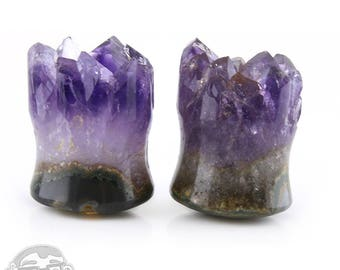 "Raw Amethyst Plugs 5/8"" (16mm)"